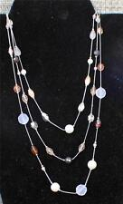 "Vintage Signed LIA SOPHIA Silvertone 3 Strand Chains Art Glass 18"" Necklace"