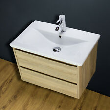 Vanity Unit Cabinet Basin Sink Bathroom Wall Hung Mounted Tap Waste 800 WH80L02