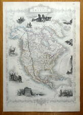 NORTH AMERICA, USA, CANADA, RAPKIN & TALLIS original antique map c1850