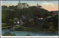 Schloß Rochsburg Sachsen alte Postkarte ~1910/20 gelaufen Blick auf das Schloss