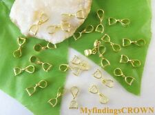 100pcs Gold plated Jewelry Making pendant Pinch bails 12mm W2593