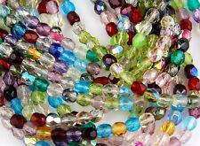 Czech Mix Round Faceted Fire Polished Glass Beads Jewelry Spacer 4mm 100pcs