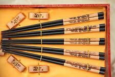 5 Baguettes Chinoises-Chopsticks-Kuai Zi-Junquillos-Stäbchen-bacchette-Dragon