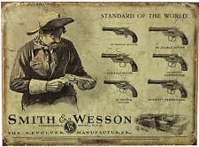 * S&W Pistolen Revolver Gewehr Western Nostalgisches Waffenschild USA *552