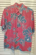 REYN SPOONER Large Red/blue hibiscus floral men's Hawaiian aloha shirt short slv