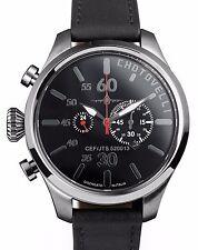Piloto militar chotovelli Hombres Reloj Negro de cuero con Cronógrafo Dial italiano 52.13