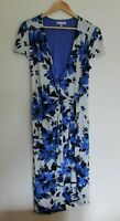 Per Una M&S Dress Short Sleeves Jersey Mock Wrap Blue Floral UK 12L