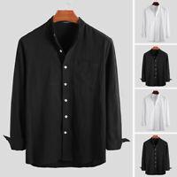 INCERUN Mens Collarless 100%Cotton T-Shirt Long Sleeve Casual Grandad Shirts Tee