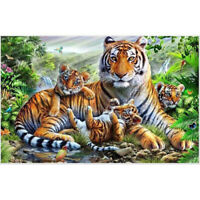 Full Drill DIY 5D Tiger Painting Embroidery Cross Stitch Kit Home Craft Decor WA