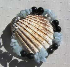 "Black Onyx & Aquamarine Crystal Gemstone Beaded Bracelet ""Hyacinth"""