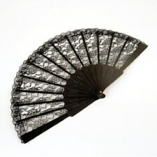 New Folding Black Lace Hand Fan (9 in) - Spanish Style