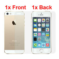 100% Genuine Screen Protector Tempered Glass Front And Back Case Cover iPhone 5S
