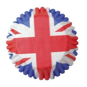Pack of 54 Union Jack Baking Cupcake Fairy Cup Cake Cases Cake Decorations