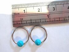 Blue Turquoise Surgical Steel Lobe Conch Cartilage Helix Hoops 16 gauge 16g