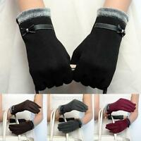 Fashion Women Gloves Leather Bow Touch Screen Winter Warm Sports Gloves Mittens