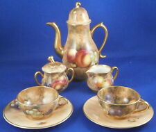 Worcester Porcelain Fruit Scene Miniature Tete a Tete English England Coffee Set