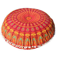 Large Mandala Floor Pillows Case Round Bohemian Cushion Cover Ottoman Pouf Throw Hot Pink