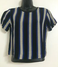 NEW Ex TOPSHOP: Blue Stripe Scoop Neck Short Sleeve Cropped Blouse Top Size 6-12