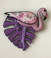Vintage style flamingo on leaf  animal  pin  brooch in enamel on metal