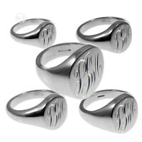 NEW Monogrammed 925 Solid Sterling Silver Oval Signet Rings UK Hallmarked Rings