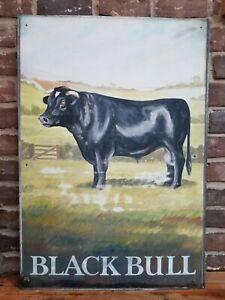 "Vintage English Reclaimed ""Black Bull"" Pub Sign British Architectural Antique"