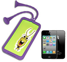 COVER CASE FLIP COMPATIBILE PER IPHONE 4 SILICONE GOMMA VENTOSE VIOLA