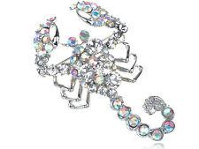 Shiny Silver Scorpion AB Clear Crystal Rhinestone Scorpio Sign Pin Brooch Gift