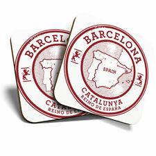 2 x Coasters - Barcelona Catalunya Spain Espana Map Home Gift #5723