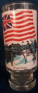 """VINTAGE: 1973 """"Early Flags Our Nation""""- Grand Union Footed Collins Glass GPB VG+"""