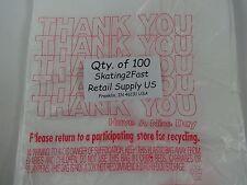 100 Qty Thank You Plastic T Shirt Retail Shopping Bags With Handles 7 X 5 X 15