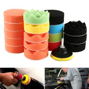 19x Car Polisher Gross Polishing Pads for Drill Sponge Buffer Waxing Buffing Kit