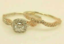 NEIL LANE 14K White/Rose Gold .67 ct tw Diamond Halo Wedding Ring Set $2,249.98