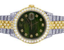Rolex 18K/ Steel Two Tone Datejust 36MM 16013 Green Dial Diamond Watch 12.5 Ct