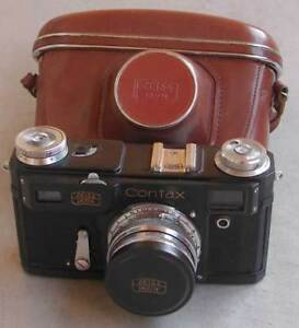 Soviet copy of Contax II Zeiss Ikon BLACK camera with Sonnar 2/50mm lens Exc.