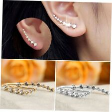 Women Fashion Rhinestone Crystal Earrings Ear Hook Stud Jewelry Gift ZA Silver