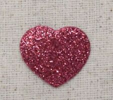 Small/Mini Heart - Hot Pink Glitter/Sparkle - Embroidered Patch/Iron on Applique