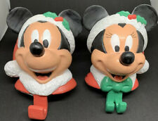Disney Mickey Mouse And Minnie Mouse Christmas Stocking Holders Vintage