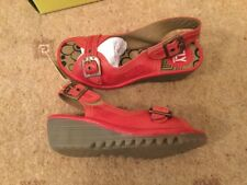 *PR OF NEW FLY LONDON OAROL RUBI  RED COLOUR LEATHER  SLING BACK  SIZE 36