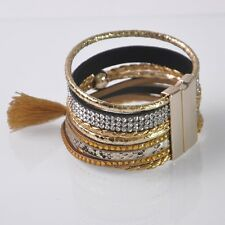 Womens Leather Wrap Wristband Cuff Magnetic Rhinestones Buckle Bracelet Bangle