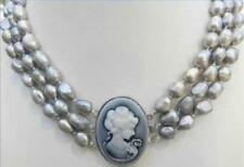 """3 Rows 9-10mm Gray freshwater PEARL NECKLACE EMBOSSED QUEEN'S Clasp 17-19"""""""