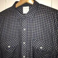 Billy Reid Mens Size XL Fit 2 Navy Blue Gray Checks Button Front LS Shirt