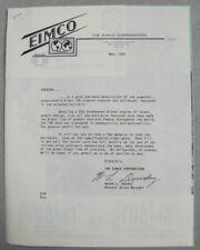 RARE 1960 Vintage EIMCO 106 CRAWLER TRACTOR DOZER BROCHURE w  LETTER