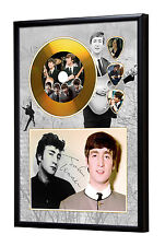 John Lennon Gold Vinyl Look CD, Autograph & Plectrum Display