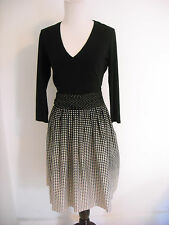 Paule Ka Dress Gradiated Dot Print V-neck Silk Blend Black Cream S