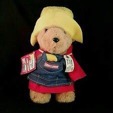 """Vintage Paddington Bear Plush Sears Craftsman 15"""" in Apron Tool Red Coat Outfit"""