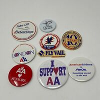1987 Pinback Buttons AMERICAN AIRLINES & AirCal On Time Machine Lot