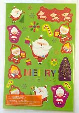 4 Sheets Christmas Holiday Stickers Party Favors Teacher Supply Santa Reindeer