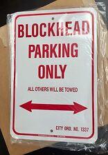 """Blechschild Harley Davidson """"Blockhead parking only"""" Sammler Metall Rarität"""
