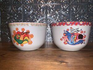 2004 Kellogg Ceramic Cereal Bowls Toucan Sam  & Corny Corn Flakes Lot Of 2