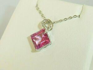 Ladies 950 Solid Platinum 3 Carat Pink Topaz & Diamond Necklace And Pendant